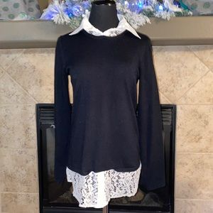 Cable & Gauge Gorgeous Black & Lace Blouse
